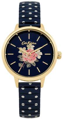 Cath Kidston Richmond Rose Navy Floral Printed Dial Navy White Polka Dot Stainless Steel Expander L
