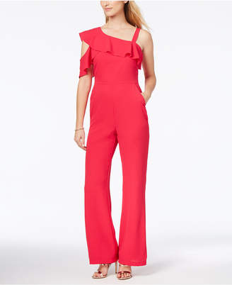 Adelyn Rae Asymmetrical Ruffled Jumpsuit