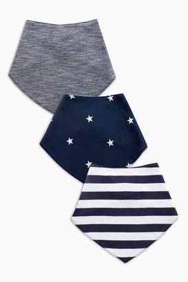 Next Boys Navy/White 3 Pack Stripe/Star Print Dribble Bibs - Blue