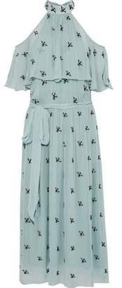 Temperley London Starling Cold-Shoulder Embellished Chiffon Midi Dress