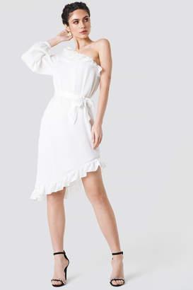 NA-KD Na Kd One Sleeve Asymmetric Frill Dress Dusty Pink