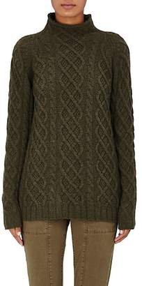 Barneys New York Women's Cashmere Cable-Knit Fisherman Sweater - Fatigue
