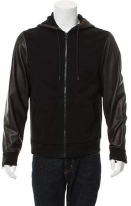 Surface to Air Leather Accent Zip Hoodie