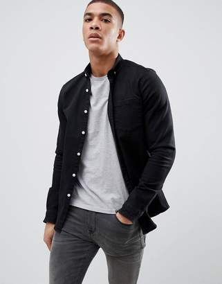 d1b384254f Asos Design DESIGN slim stretch denim shirt in black