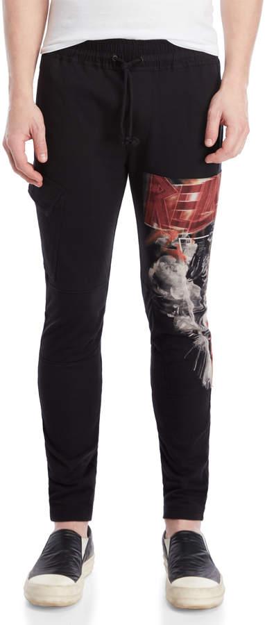 Religion Black Live Printed Cargo Knit Pants