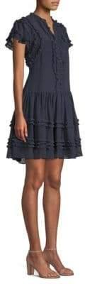 Rebecca Taylor Ruffle Button-Front Dress