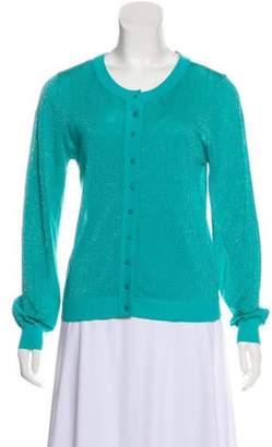 Alice + Olivia Button-Up Semi-Sheer Cardigan Teal Button-Up Semi-Sheer Cardigan