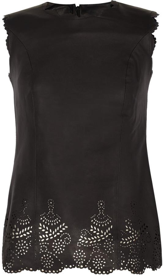 Sara Berman Doily Coco laser-cut leather top