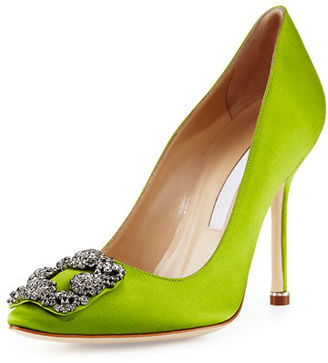 Manolo Blahnik Hangisi Crystal-Buckle Satin 105mm Pump $965 thestylecure.com