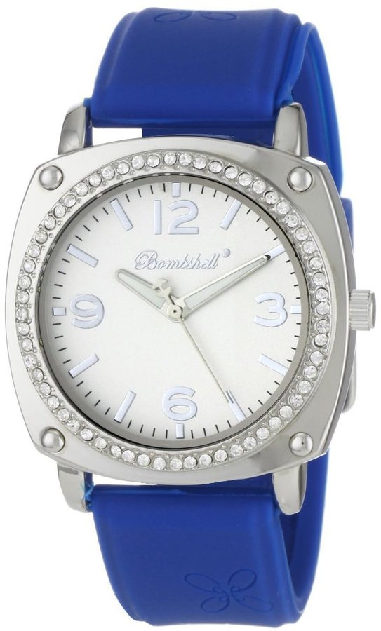 Bombshell Women's BS1004BL Lindsey Chic Blue Silicone Strap Crystal Case Watch
