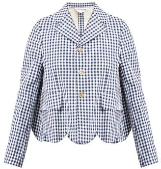 Comme des Garcons Gingham Scallop Trim Cotton Blazer - Womens - Navy White