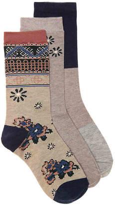 Lucky Brand Geo Floral Crew Socks - 3 Pack - Women's
