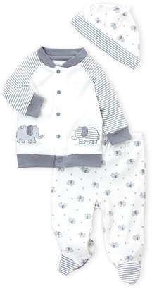 Little Me Newborn Boys) 3-Piece Elephant Cardigan, Footie Pants & Cap Set
