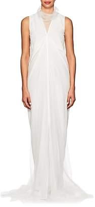 Rick Owens Women's Tulle-Overlay Silk Crêpe De Chine Gown