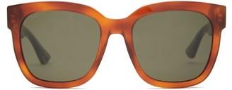 Gucci Web Stripe Square Acetate Sunglasses - Womens - Green