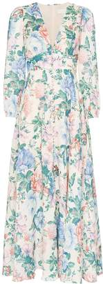 Zimmermann Verity plunge floral print dress