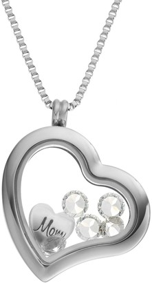 """Swarovski Blue La Rue Crystal Stainless Steel 1.2-in. Heart """"Mom"""" Charm Locket - Made with Crystals"""