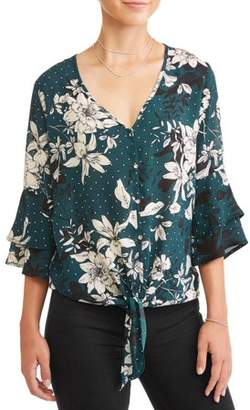 Liberty Love Juniors' Floral Printed Button Tie Front Bell Sleeve Blouse