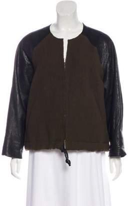 Isabel Marant Wool Leather-Paneled Jacket Olive Wool Leather-Paneled Jacket