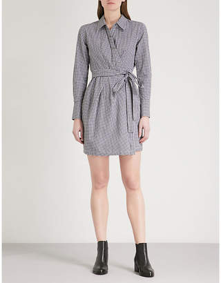 Mo&Co. Gingham stretch cotton-blend mini shirt dress