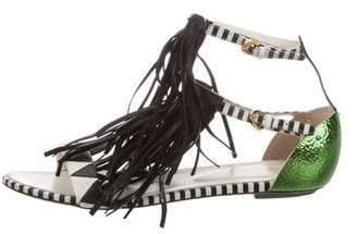 Sergio Rossi Leather Fringe Sandals