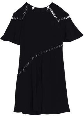 Ring-Embellished Crepe Dress