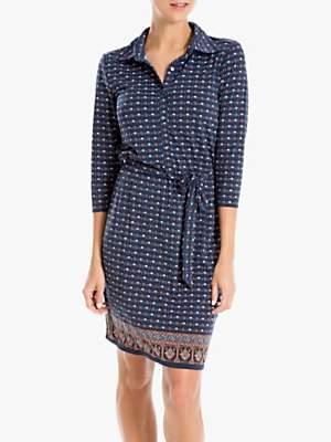 Max Studio Printed Jersey Shirt Dress, Blue