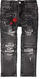 Moto Haus of JR Kids' Embroidered Jeans-Black