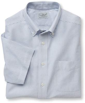 L.L. Bean L.L.Bean Wrinkle-Free Classic Oxford Cloth Shirt, Traditional Fit Short-Sleeve University Stripe