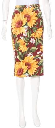 Dolce & Gabbana Sunflower Print Knee-Length Skirt