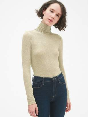 Gap Ribbed Long Sleeve Stripe Turtleneck Top in Modal