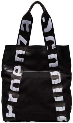 Proenza Schouler black and white Logo strap leather and canvas backpack tote