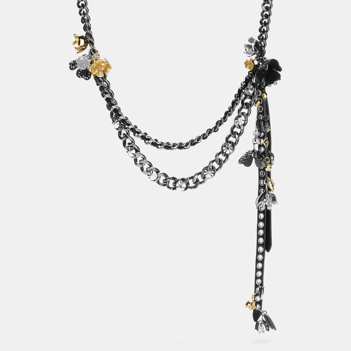 Coach  COACH Coach Studded Tea Rose Woven Charm Necklace