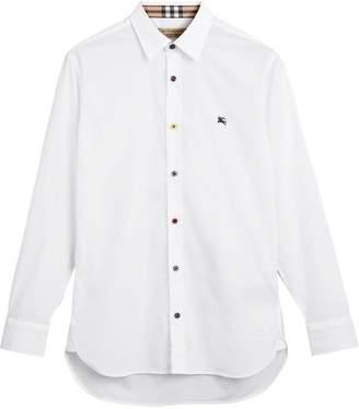 Burberry Contrast Button Stretch Cotton Shirt