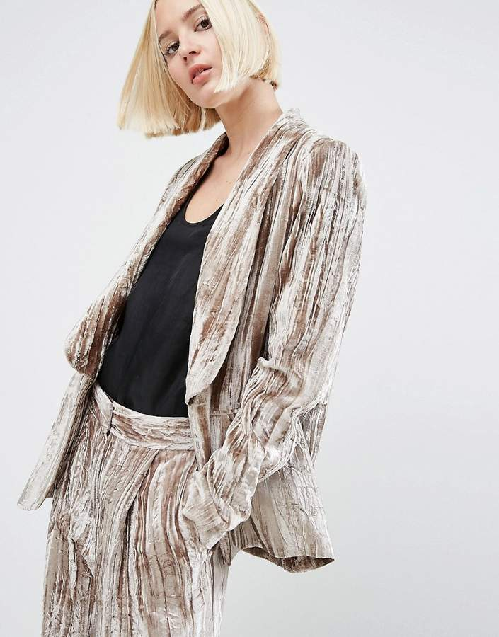 Asos ASOS White ASOS WHITE Crushed Velvet Smoking Jacket