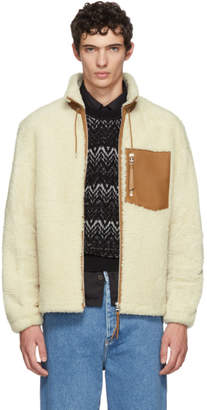Loewe White and Tan Shearling Blouson Jacket