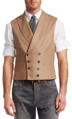 Brunello Cucinelli Double-Breasted Wool& Cashmere Vest