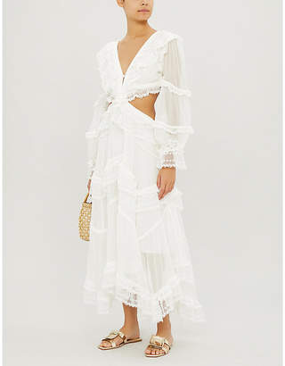 Zimmermann Suraya cutout lace-trimmed flocked silk dress
