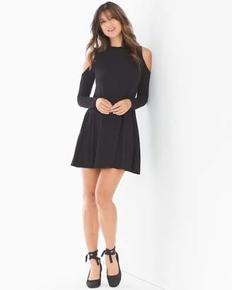 Elan International Cold Shoulder Long Sleeve Short Dress Black