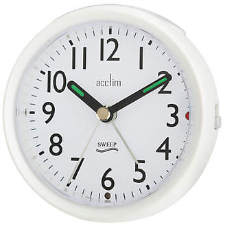 Acctim Round Sweep Alarm Clock, Dia.11cm, Pearl White
