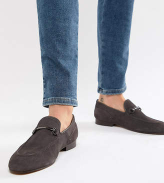 H By Hudson Wide Fit Banchory bar loafers in gray suede