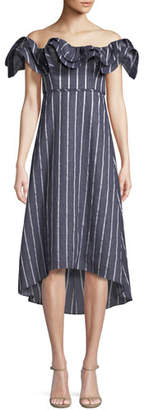 Mirabelle Prose & Poetry Ruffled Off-the-Shoulder Striped A-Line Dress