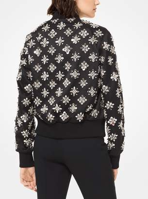 Michael Kors Embroidered Silk-and-Wool Duchesse Bomber Jacket