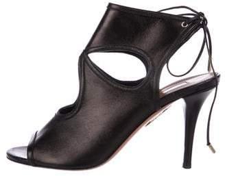 Aquazzura Leather Peep-Toe Wrap-Toe Sandals