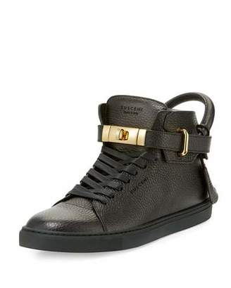 Buscemi Men's 100mm High-Top Leather Sneakers with Padlock, Black