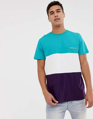 New Look t-shirt with homme embroidery in purple colour block