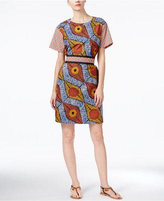 Weekend Max Mara Reflex Cotton Printed Shift Dress $425 thestylecure.com