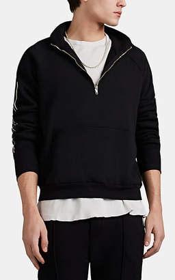 NSF Men's Striped Cotton Terry Half-Zip Pullover - Black