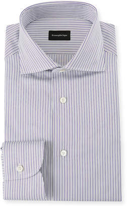 Ermenegildo Zegna Men's Multi-Stripe Cotton Dress Shirt, Purple