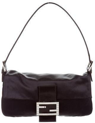 FendiFendi Crystal Embellished Satin Baguette Bag